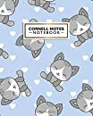 Cornell Notes Notebook: Large Cornell Note Paper Notebook - College Ruled Medium Lined Journal Note Taking System for School and University - Cute Blue Cat Print