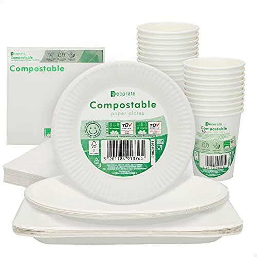 Aktive - Vajilla desechable biodegradable, 70 piezas, 10 personas, platos desechables, vasos ecológicos, servilletas celulosa 3 capas, sin BPA, vajilla 100%papel