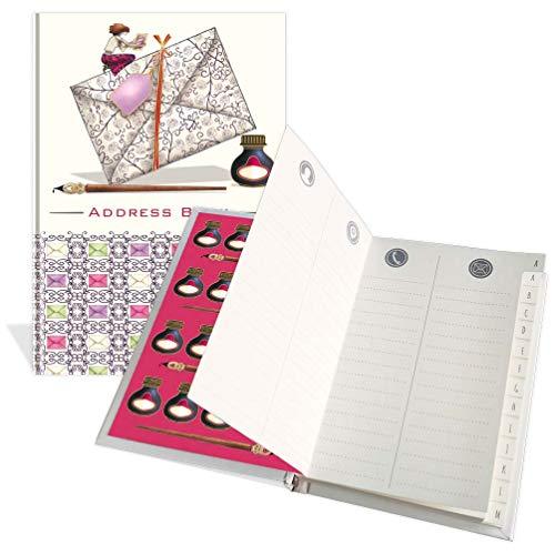 Libreta de direcciones de bolsillo de lujo – Diseño escrito a mano – 104 páginas – Tamaño 91 mm x 130 mm