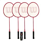 WILSON Fluo Pro Raquettes de Badminton + Volants, Red