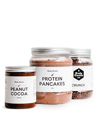 BODY GENIUS Pack Desayuno Proteico (Chocolate) Crema De Cacahuete Y Cacao, Tortitas Proteicas Y Protein Crunch. Alto En Proteína, Bajo En Hidratos, Sin Azúcar. Hecho En España.