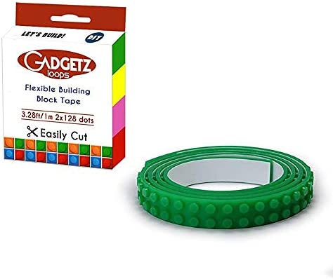 Gadgetz Block Tape for Lego Bricks 10 Pack 10 Rolls of Lego Tape Green Color Loops Building product image