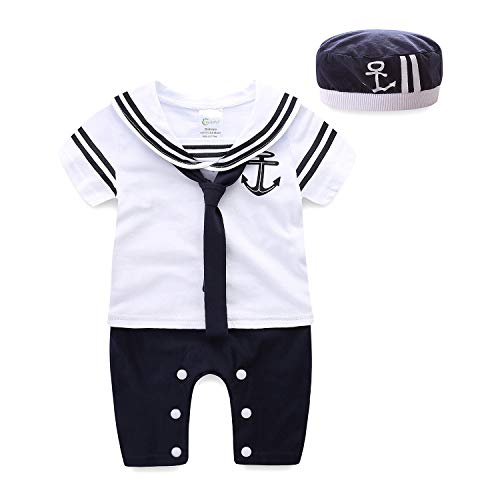 Mud Kingdom Navy Baby Romper with Hat 6 Months White Short Sleeve