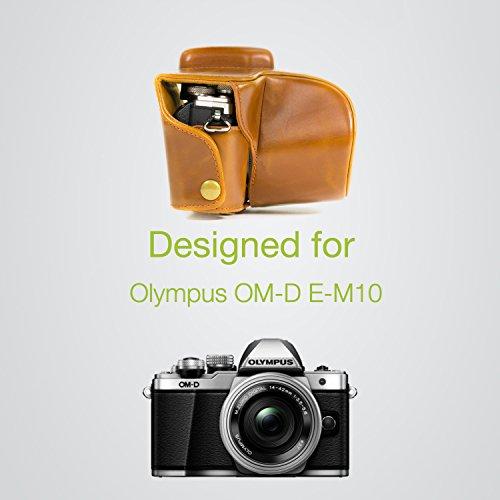 MegaGear MG369 Olympus OM-D E-M10 Mark II, E-M10 (14-42mm) Estuche Ever Ready, Funda de cuero, de pronto uso, con correa - Marrón Claro