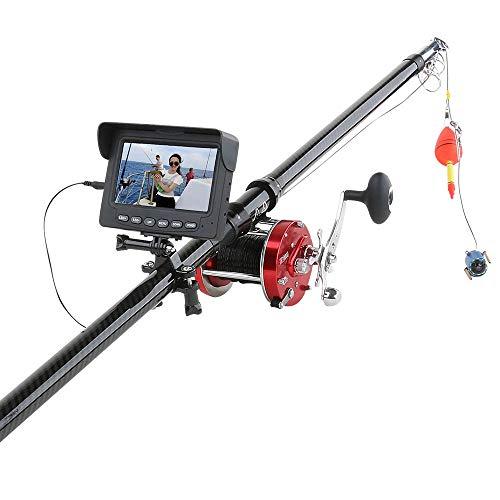 魚群探知機ビジュアル高精細魚群探知機水中釣りカメラ4.3インチ暗視カメラロッド付き釣り用