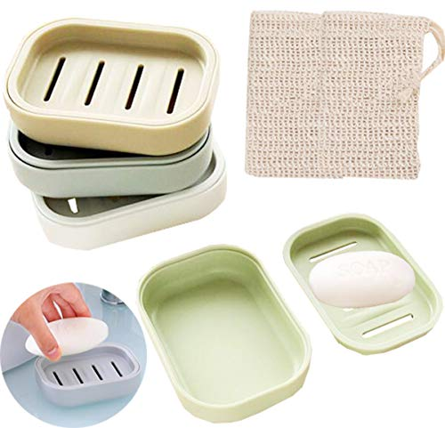 Liuer Zeepbakje, 4 stuks, 2 stuks zeepzakje, zeepnetzakje, zeepbakje, reis, kunststof, zeepbakje voor badkamer, keuken, badkamer, wastafel