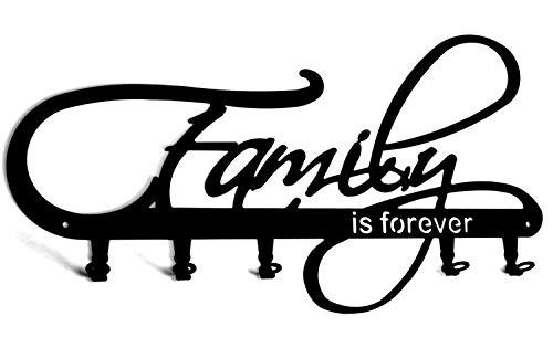 steelprint.de Wandgarderobe/Garderobe * Family is Forever * - (Familie ist für Immer) - Garderobenhaken,Wandhaken - Flurgarderobe - 5 Haken, Metall, Schwarz