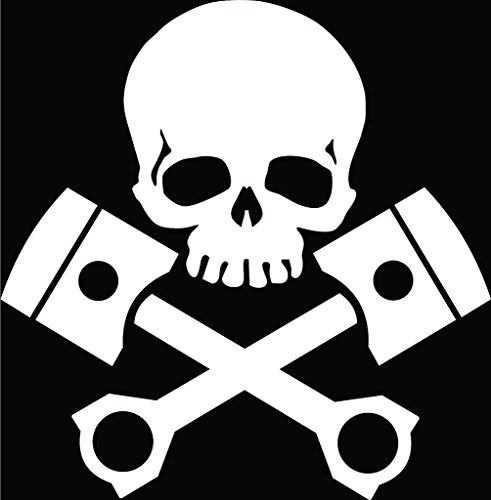 KCD Skull and Pistons Vinyl Decal Sticker|Cars Trucks Vans Walls Laptops Cups|White|5.5 inches|KCD908