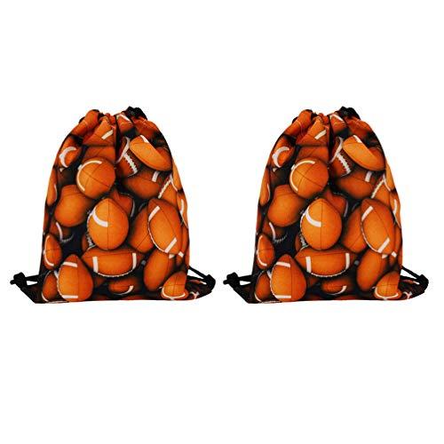 LIOOBO 2 Piezas Mochila con Cordón Patrón de Rugby Bolsas de Gimnasia Paquete de Almacenamiento Deportivo Bolsa de Compras Bolsa para Escuela de Viaje de Partido (Naranja)