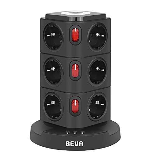 BEVA Regleta Enchufe Vertical de 12 Tomas Corrientes y 3 Rápida USB Tomas, Enchufe Multiple con Luz de Noche, Regleta con Interruptor y protección, Cable de 2M, 2500W/10A
