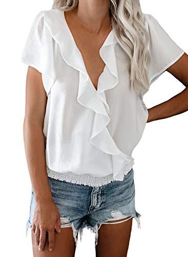 FIYOTE Damen Hemd Chiffon Lose Bluse V-Ausschnitt Top Tunika Oberteile T-Shirts,...