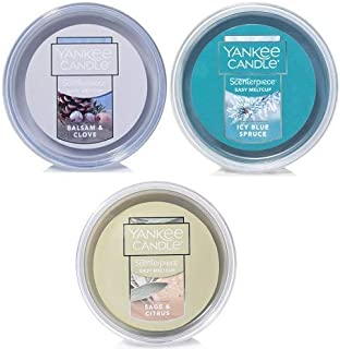 Yankee Candle Sage and Citrus, ICY Blue Spruce & Balsam and Clove Scenterpiece Easy Meltcup. Wax Melt Home Fragrance. Wax Melt Scent.