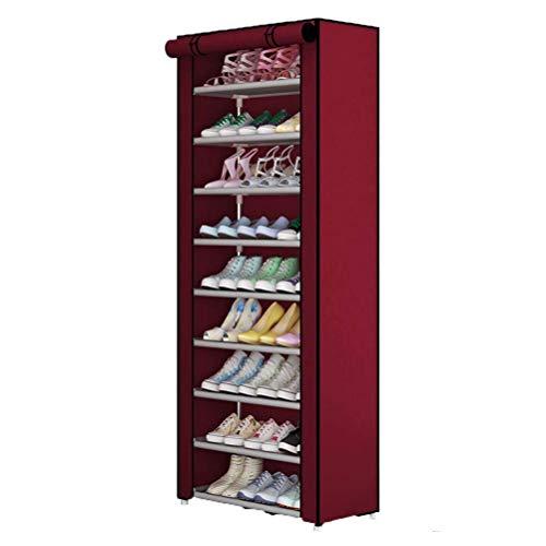 CHUTD Zapatero de Tela Oxford Desmontable Organizador de Zapatos a Prueba de Agua y Polvo 5 Racks de Zapatos de Almacenamiento para Dormitorio, Sala de Estar, marrón, Rojo, 9tier