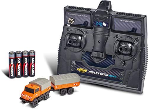 Carson 1:87 MB Unimog U406 mit Anhänger 100 % RTR, ferngesteuertes Fahrzeug, fahrfertiges Modell, mit LED Beleuchtung und schaltbarer Warnleuchte, sehr Kleiner Wendekreis, perfekt für Dioramen