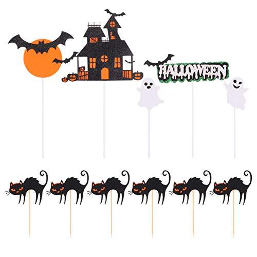 Tomaibaby 11 Stück Halloween Cake Topper Papierkuchen Picks Hexenkuchen Topper Schloss Und Schwarze Katze für Halloween Thema Geburtstagsfeier Lieferungen