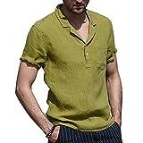 Camiseta Hombre Verano Regular Fit Cuello V Hombre Casuales Camisas Color Sólido Bolsillo Manga Corta Urbano Básico Casual Wicking Transpirable Hombre Shirt B-Green L