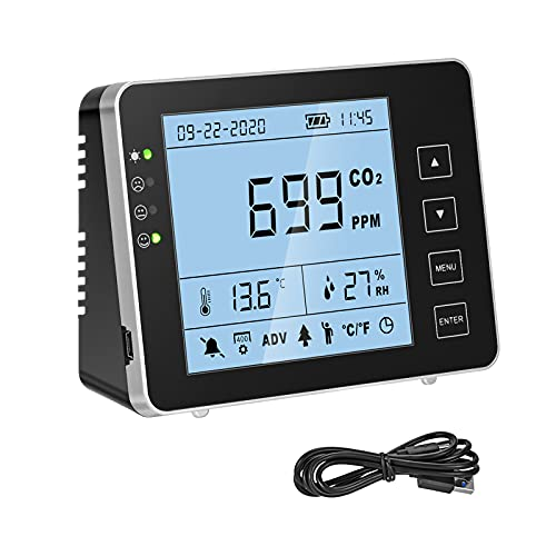 TTLIFE Medidor de CO2 para Interior,0-5000ppm Detector de dióxido de Carbono de Pared de Temperatura y Humedad,Sensor NDIR(Negro)