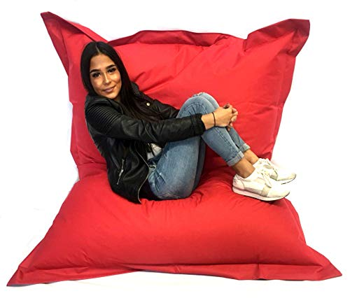 Sitzsack XXL Riesensitzsack 140 x 180 cm mit Füllung In & Outdoor Sitzsäcke Sessel Kissen Sofa Hocker Sitzkissen Bodenkissen (ca.180x140cm, Rot)