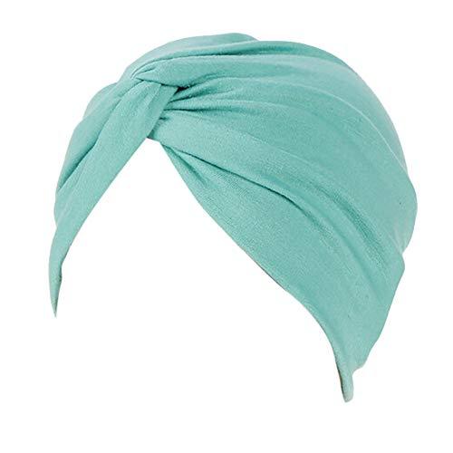Lazzboy Frauen-Indien-Hut moslemischer Rüsche Beanie-Turban-Wickelkappen-Winter-Hut Damen Turban Kopfbedeckung Fashion in verschiedenen Farben(E)