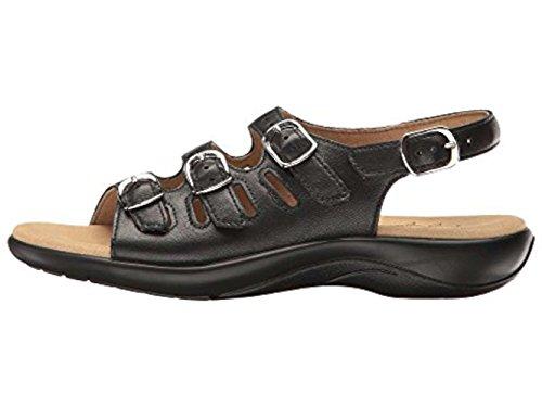 SAS Women's Flat Sandals, Black, 8 Wide