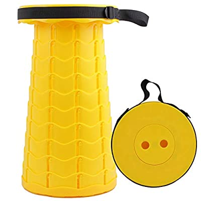 Simple Stool Collapsible Retractable Stools Telescopic Stool Folding Telescoping Camping Seat Max Load 440lb with Carry bag Collapse Sturdy Compact and Adjustable for Outdoor Travel BBQ (yellow)