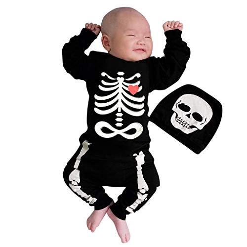 BaZhaHei Bambini Maniche Lunghe Jumpsuit Halloween Tuta Cranio Stampa Romper + Cappello 2pcs Set Bambino Mostro Diavolo diavoletto Cosplay Costumi età 6-24mesi