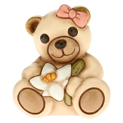 THUN - Bomboniera Teddy con Giglio - Bomboniera Bambina - Bomboniera Prima Comunione - Linea Bomboniere - Ceramica - 5,7 x 4,3 x 5,1 h cm