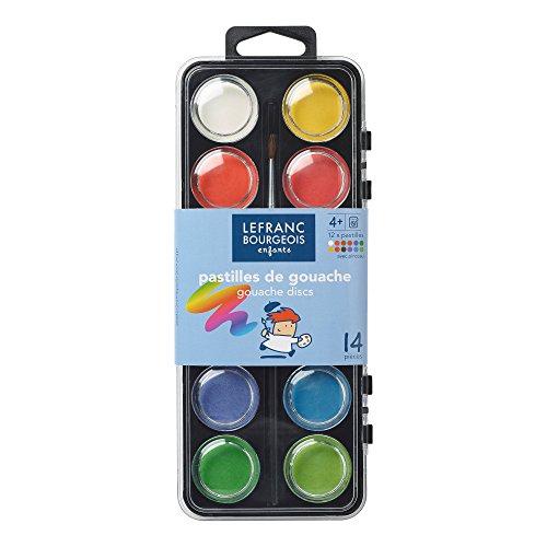 Lefranc & Bourgeois Schulfarben - 12 Wasserfarben für die Schule, inkl. 1 Pinsel