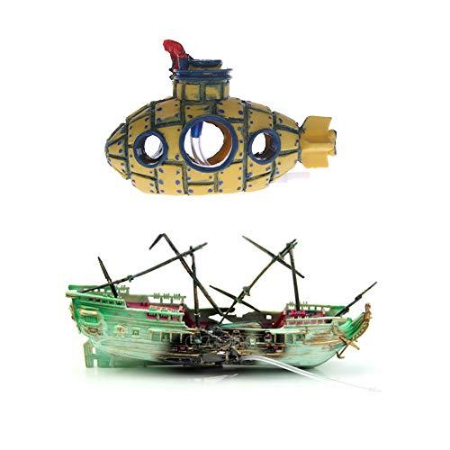 TXIN 2 Stücke Aquarien Ornamente, Aquarium Deko Ornament Wrack Fischerboot Schiff U-Boot Landschaft Ornament Fish Tank Dekoration Zubehör Ideal Für Kleine Garnele Fisch Schildkröte