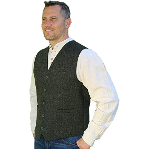 Emerald Isle Tweed Vest for Men, Imported from Ireland, Green (Small)