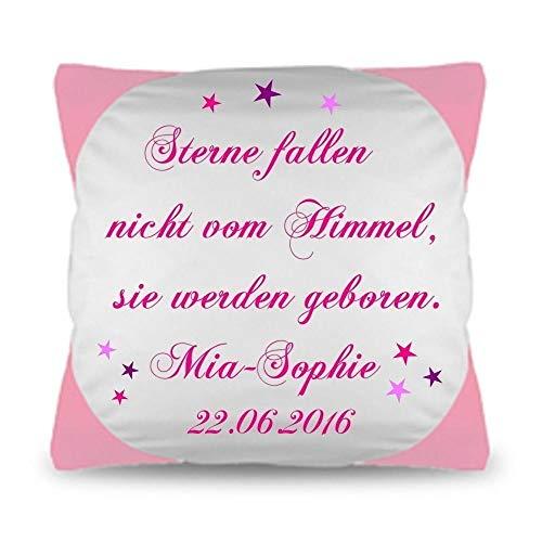 Geschenk zur Geburt Kissen mit persönlichen Daten Namen Datum STERNE FALLEN NICHT VOM HIMMEL.Baby Taufe Wunschkissen .Personalisiertes Kissen Junge Mädchen