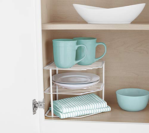 Smart Design 3-Tier Kitchen Corner Shelf Rack - Steel Metal Frame - Rust Resistant Finish - Cups Dishes Cabinet Pantry Organizer - Kitchen 9 x 775 Inch White