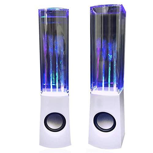 Aolyty Färgglad vatten LED-högtalare med dansande fontän ljusshow ljud för PC MP3-spelare bärbara datorer (vit)