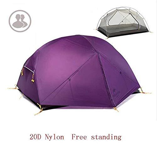 Générique Arongbc Tente de Camping 3 Saisons en Nylon 20D Double Couche imperméable pour 2 Personnes, 20D Purple