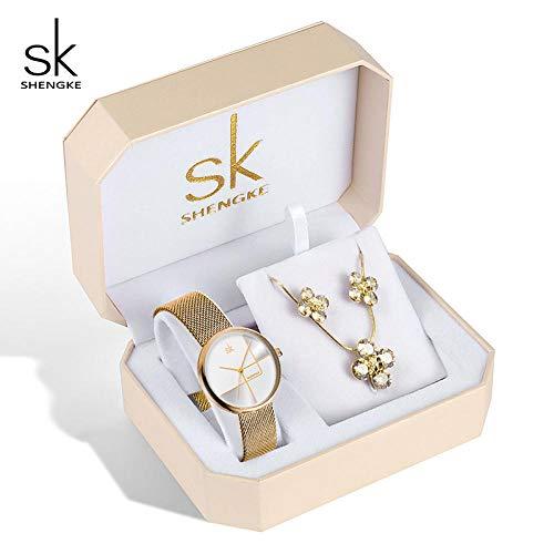 Relojes de Oro Rosa Conjunto de Mujeres Pendientes de Cristal Collar Relojes Conjunto Reloj de Cuarzo para Mujer Regalos para Mujeres
