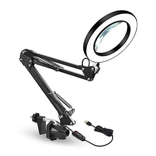 8W USB LED 3 colores Clip Lámpara de mesa de la mesa de atenuación de la lectura de la luz con 5x Luminaria grande de la protección del ojo de la belleza de la lupa