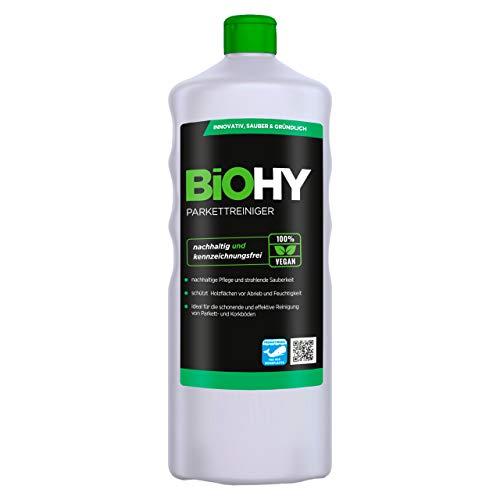 BiOHY Parkettreiniger (1l Flasche) | Ideal für versiegeltes Parkett | materialschonend & ohne rückfettende Wirkung | Für eine streifenfreie Reinigung | stehende Nässe vermeiden