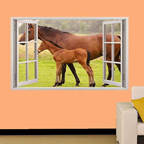 YJYG Wandtattoos PFERD UND FALSCH IM FELD 3D WINDOW WALL STICKER ROOM DEKORATION AUFKLEBER MURAL Halloween gift-60 x 90 cm