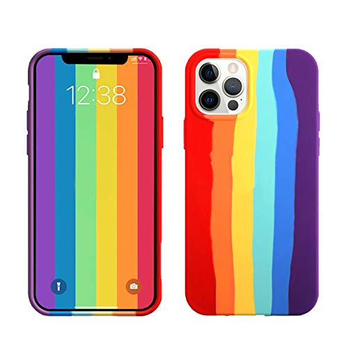 Oniuk Compatible for iPhone 12/Compatible with iPhone 12 pro 6.1 inch Rainbow Soft Liquid Silicone Case [Drop Protection] [Shock-Absorbing Corners]