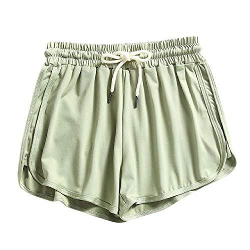 N\P Mujeres Verano Caramelo Color Cordón Skinny Shorts Casual Señora Cintura Elástica Playa