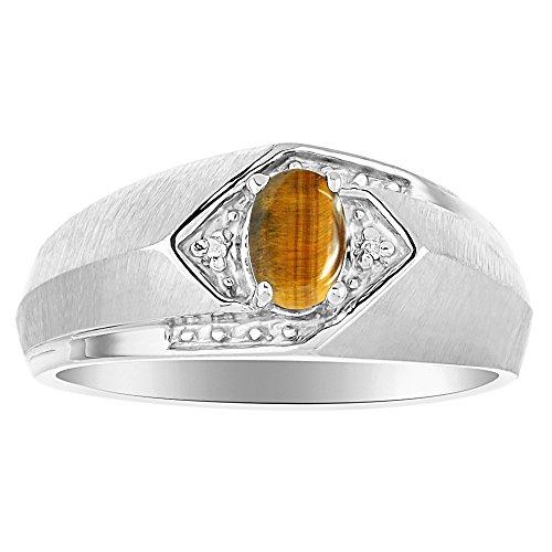 Birthstone Anillo Plata de Ley o plata ojo de tigre chapado en oro amarillo y anillo de diamante