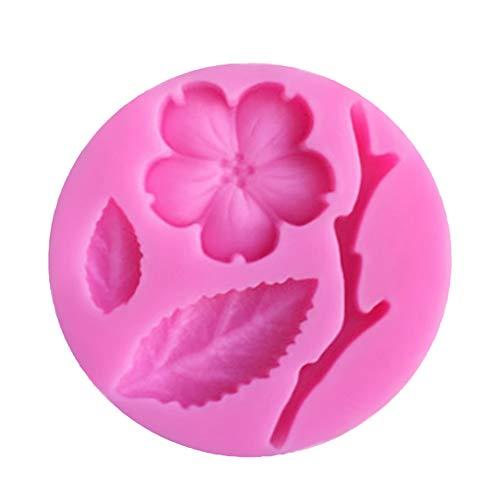 Ruikey Molde de Silicona para Fondant,3D Flor de Melocotón Molde de Torta,Molde para Hornear,Moldes Repostería Silicona 4.5 * 4.5 * 0.8cm