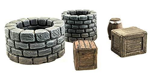 War World Gaming Fantasy Village - Set de Pozos, barriles y Cajas - 28mm Wargaming Medieval Miniaturas Maquetas Dioramas Edificios Wargames Guerra Aldea Edad Media