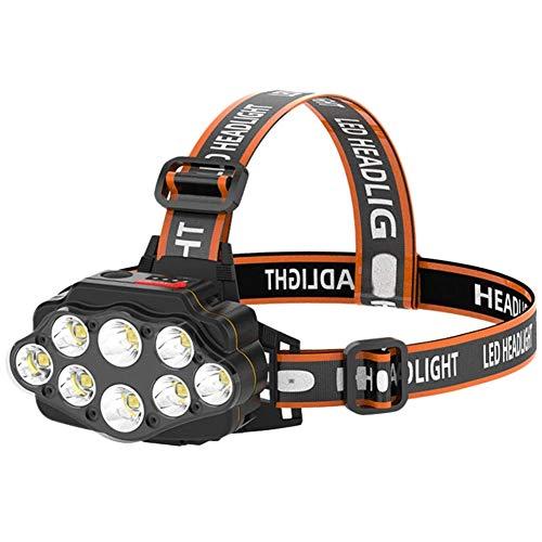 QLIGHA Linterna Frontal de 8 LED para Exteriores, Impermeable, Recargable por USB, luz montada en la Cabeza para Pesca Nocturna, Cabeza, luz Frontal, Linterna Frontal