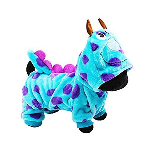 Blue Fashionable Pet Supplies Puzzle Bobble Style Pet Flannelette Winter Clothes with Hat Dog Costume