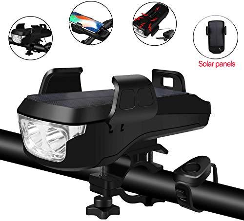 CYCEARTH 5-in-1 Fahrrad-Handyhalterung, solarbetrieben, wiederaufladbar, USB, 550 Lumen, superhelle LED-Lampe, Lenker, Scheinwerfer mit 4000 mAh Akku, 130 dB Hupe Klingel