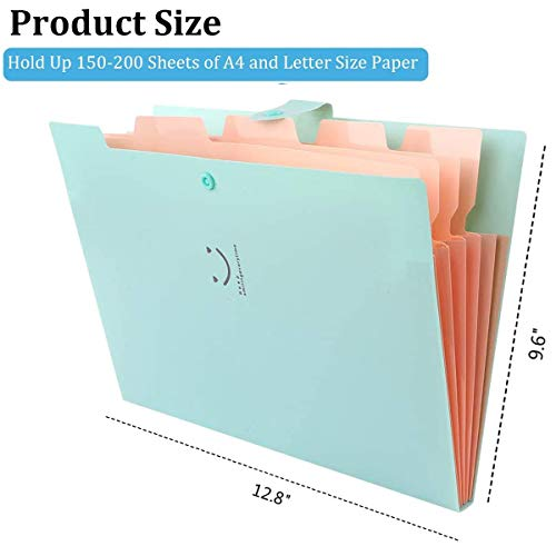 5 Pack Expanding File Folders Accordion Document Organizer, Letter A4 Paper Placstic File Folder 5 Pocket Expandable File Jackets for School Office Home Photo #6