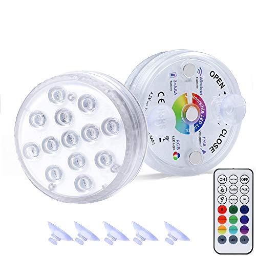 Hengda Unterwasser Licht,Wasserdichtes LED Licht,mehrfarbige RGB-13-LED-Perlen mit RF-Fernbedienung Ausgestattet mit Magnet und Saugnapf,Poollampe für Swimmingpool,Teich, Inneneinrichtung (2 Stück)