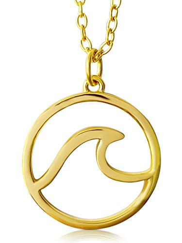VIASOUL® Halskette Welle I Wave für Damen aus 925er Silber I Mit 585er Gold überzogen I Die Original Wellen Kette (Gold)