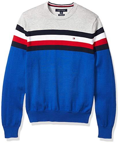 Tommy Hilfiger Men's Stripe Crewneck Sweater, Cobalt/Heather Silver, X-Large